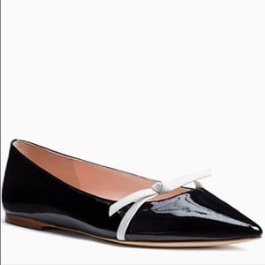 Kate Spade | Delilah Black Pointy Flats Bow Tie